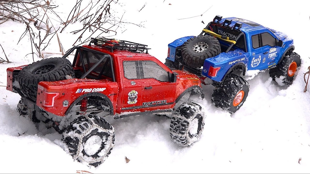 RED & СИНИй Форд F150 RAPTORS – SNOW at TOPLESS CREEK: 1/8 scale Cragsman | RC ПРИКЛЮЧЕНИЯ