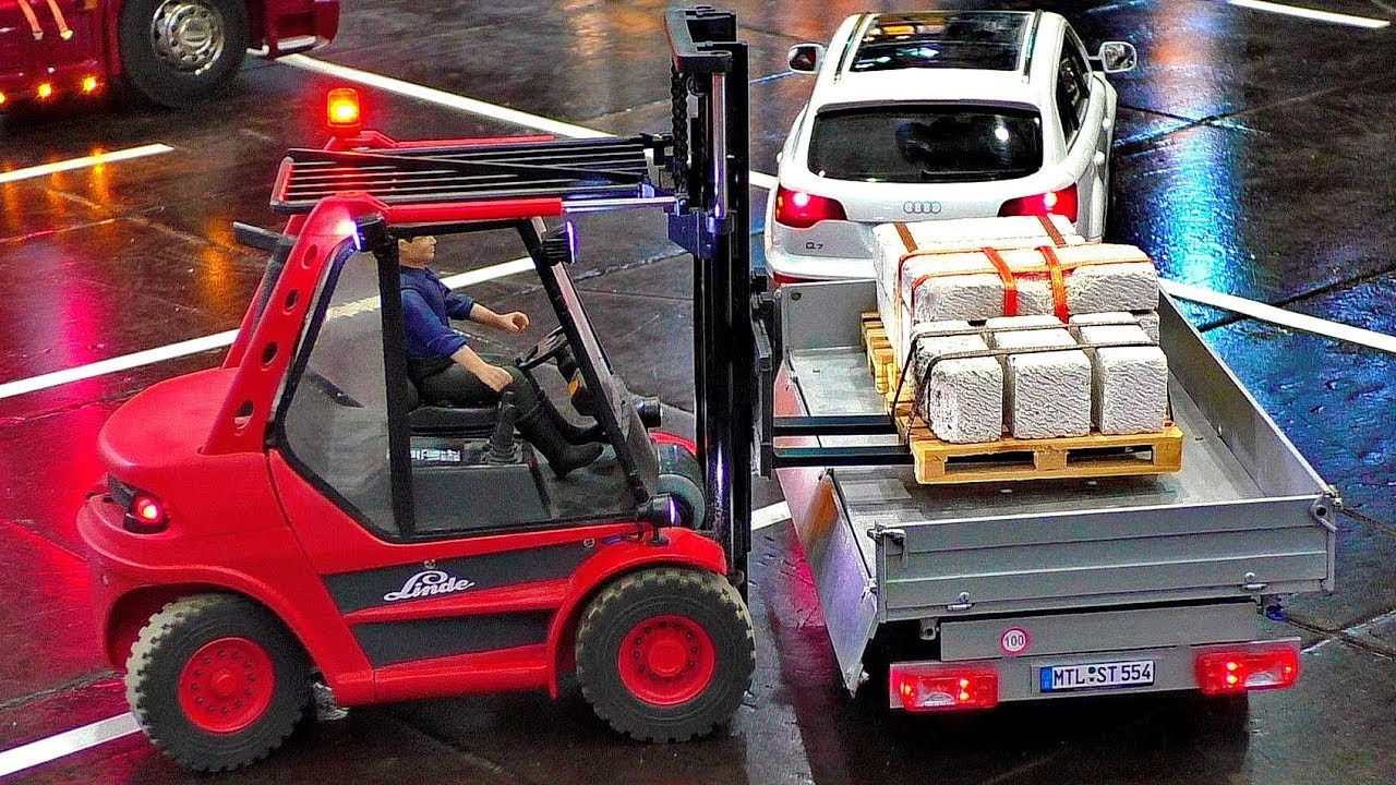 INCREDIBLE NICE RC FUNKTIONALITY MODEL FORKLIFT LOADING CAR TRAILERS