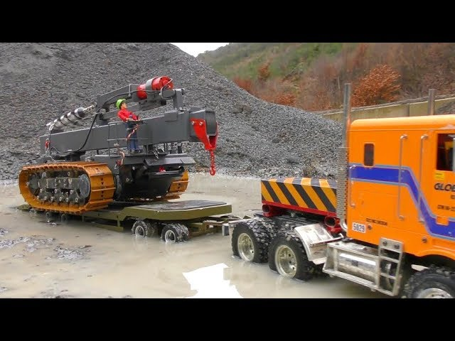 HEAVY RC DRILL DOZER TRANSPORT! STRONG RC VEHICLES 2019! COOL RC