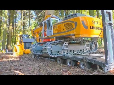 HEAVY RC MACHINES WORK AT THE FOREST! FANTASTIC LIEBHERR, CATERPILLAR AND VOLVO MACHINES! RC FUN