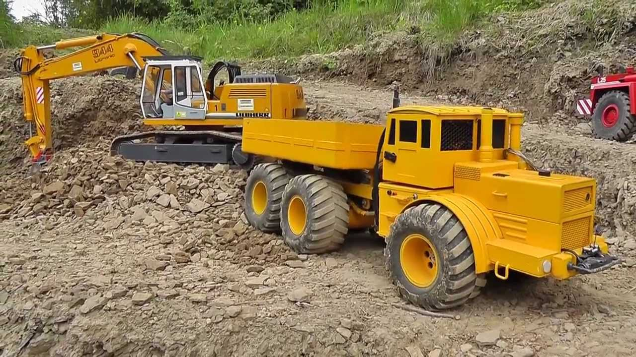 RC HEAVY CONSTRUCTION ZONE! R-C TAMIYA, VOLVO WHEEL LOADER! COOL RC DUMPER AT THE MINE2017!