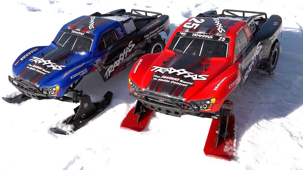 Mom & Son drive Traxxas Slash 2WD Brushless Trucks with SKIS in SNOW! | FAMILY RC ADVENTURES!
