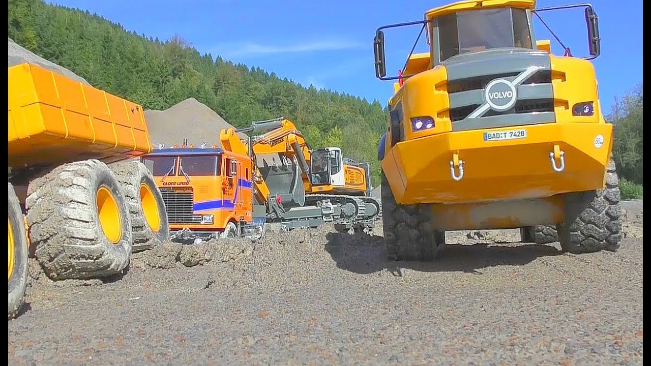 HEAVY RC CONSTRUCTION! FANTASTIC RC LIEBHERR DIGGER 970 AND VOLVO A45G ACTION! 大RC机器!