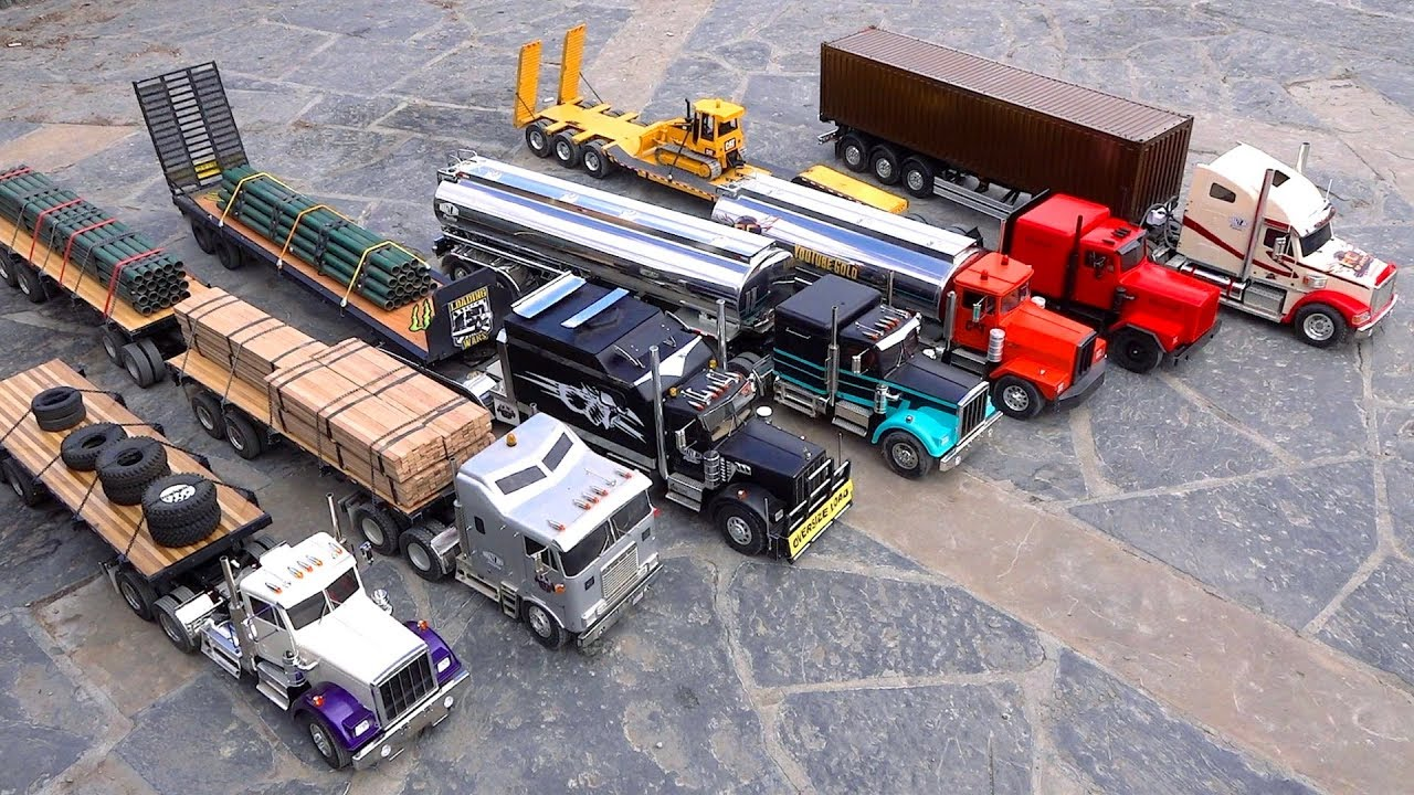 7 Truck Semi Convoy Rolls through a City – 1/14th scale | RC ADVENTURES