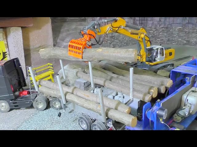 HEAVY RC TRANSPORT  | BIG TREES ON THE TRAILER  | RC LIEBHERR EXCAVATOR 956 | RC SCALE TOYS1