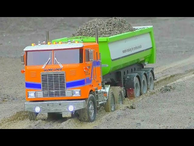 RC DUMP TRUCK AND TIPPER! HEAVY RC TOYS AT THE MUD, WATER OR SLUSH! RCLIVE ACTION