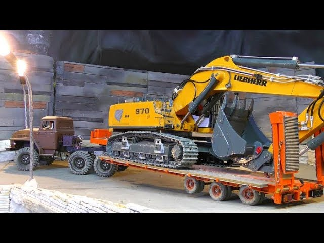Liebherr 970 EXCAVATOR HAULAGE! AMAZING RC CAR TOYS IN ACTION! COOL SELF MADE MACHINES AND VEHICLES