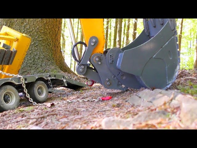 RC DOZER SLIP FROM THE TRAILER! COOL RC MACHINES AND VEHICLES WORK IN THE FOREST!