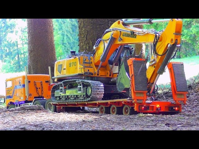 R/C GLOBE LINER IN ACTION! STRONG RC LIEBHERR 970 WORK IN THE FOREST!