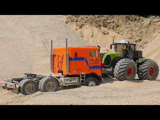 RC GLOBE LINDER STUCK! HEAVY RESCUE FROM THE QUICKSAND! RC CLAAS XEREON!