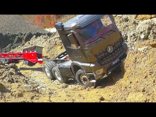 RC CONSTRUCTION VEHICLES 2019! K-700A AND MERCEDES AROCS 6X6 AT WORK! BIG RC TOYS FOR KIDS