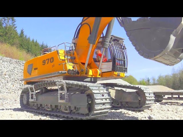 HEAVY RC LIEBHERR R970 IN ACTION! COOL VOLVO TRUCK! A45G DUMP TRUCK! GLOBE LINER 6X6
