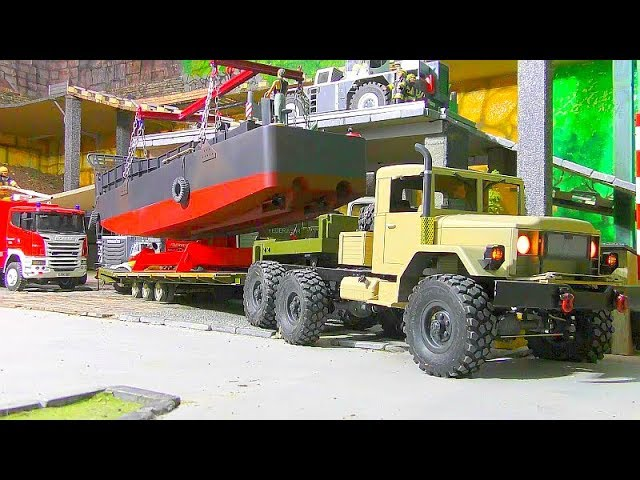 RC LANDING CRAFT LCM 3! Heavy Load For The LRT 1100-2.1 RC Crane Truck! Best RC Vehicles