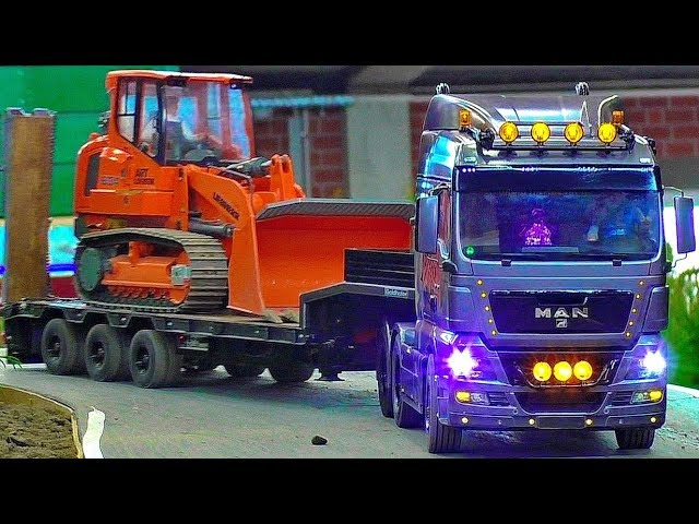 FANTASTIC RC EARTHWORK WITH DOZER LIEBHERR 634 AND TRANSPORT WITH MODEL TRUCK