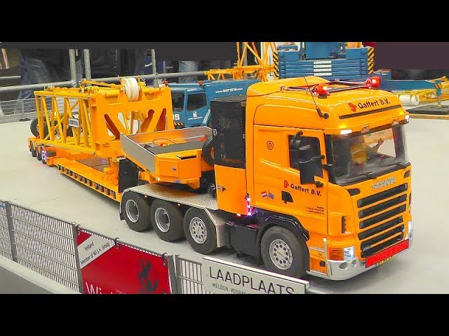 RC CRANE PARTS TRANSPORTATION! SCANIA 8X8 TRUCK! HEAVY SELFMADE LIEBHERR CRANES