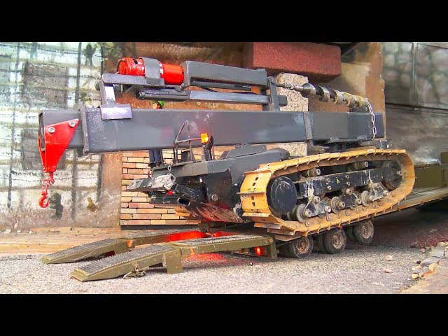 RC MEGA TRANSPORTATION! 60t TRACK DRILL DOZER! STRONG AROCS 6X6! 令人惊叹的遥控车