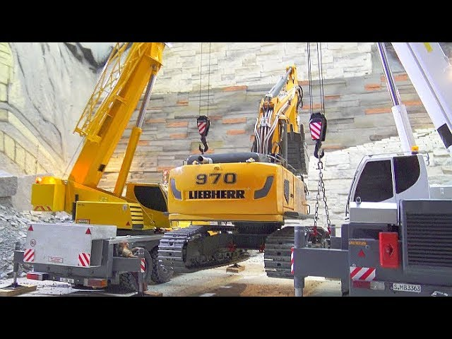 RC Liebherr 970 Heavy Lift! Big 80t RC Excavator Lift With Two Fantastic Mobile Cranes!