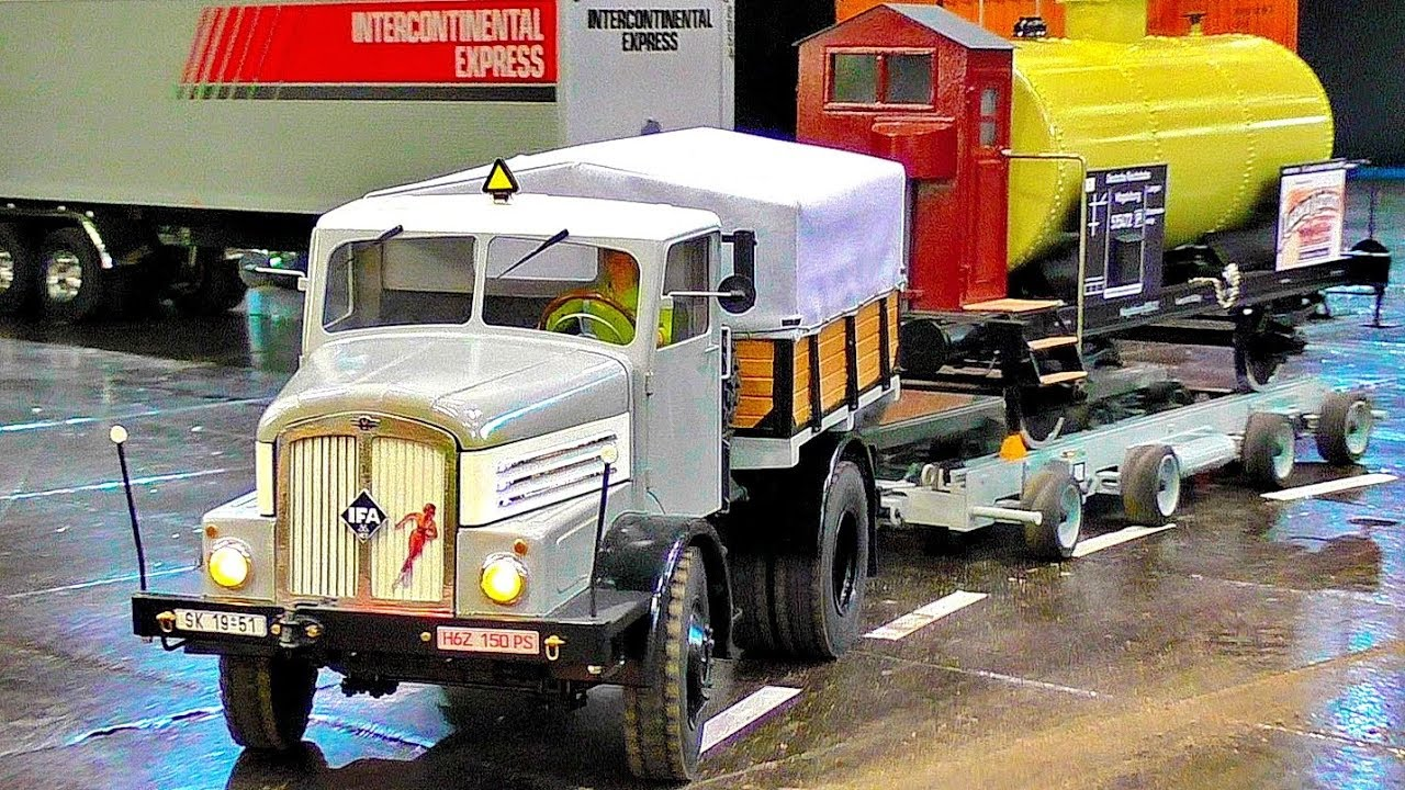 NICE OLD GERMAN RC MODEL TRUCK WITH AMAZING DETAILS IN MOTION IFA DDR MODEL TRUCK