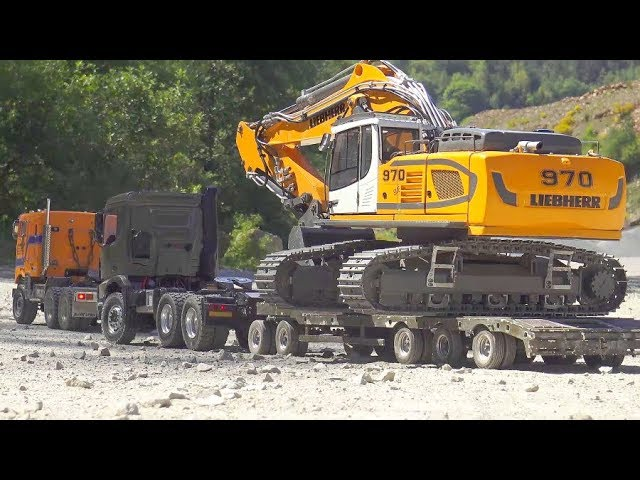 RC CONSTRUCTION SITE EXTREME! HEAVY TRANSPORTATION WITH THE INTERNATIONAL 9670! AROCS 6×6 IN ACTION
