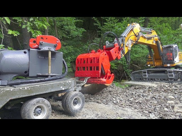 Liebherr RC Excavator with Wood Cutter,  RC Chainsaw in Action, Incredible RC Vehicles at Work