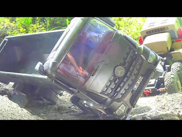 MERCEDES AROCS 6X6, TAMIYA RC TRUCK IN DANGER, KOMATSU DUMP TRUCK, RC WHEEL LOADER