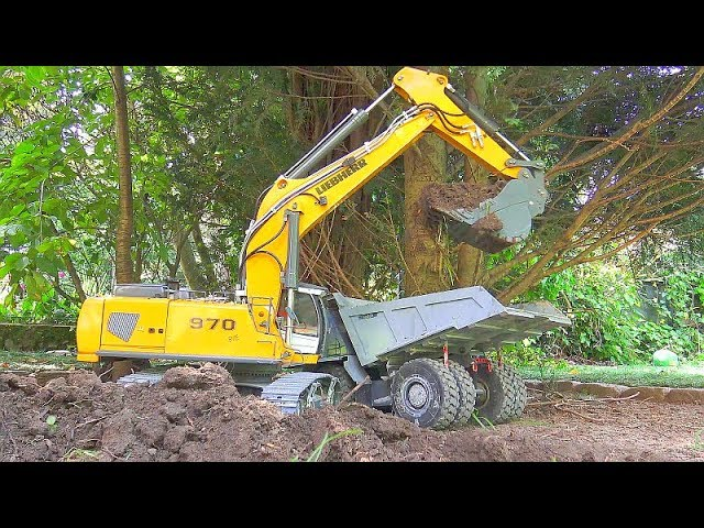 LIEBHERR R970 AT WORK! LIEBHERR DIGGER! КОМАЦУ HD 405! RC CONSTRUCTION VEHICLES! HEAVY RC MACHINES