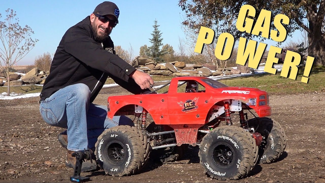MAN and his GIANT TOY MONSTER TRUCK RiDE AGAIN! 49cc GAS POWER ENGINE | AVENTURES RC