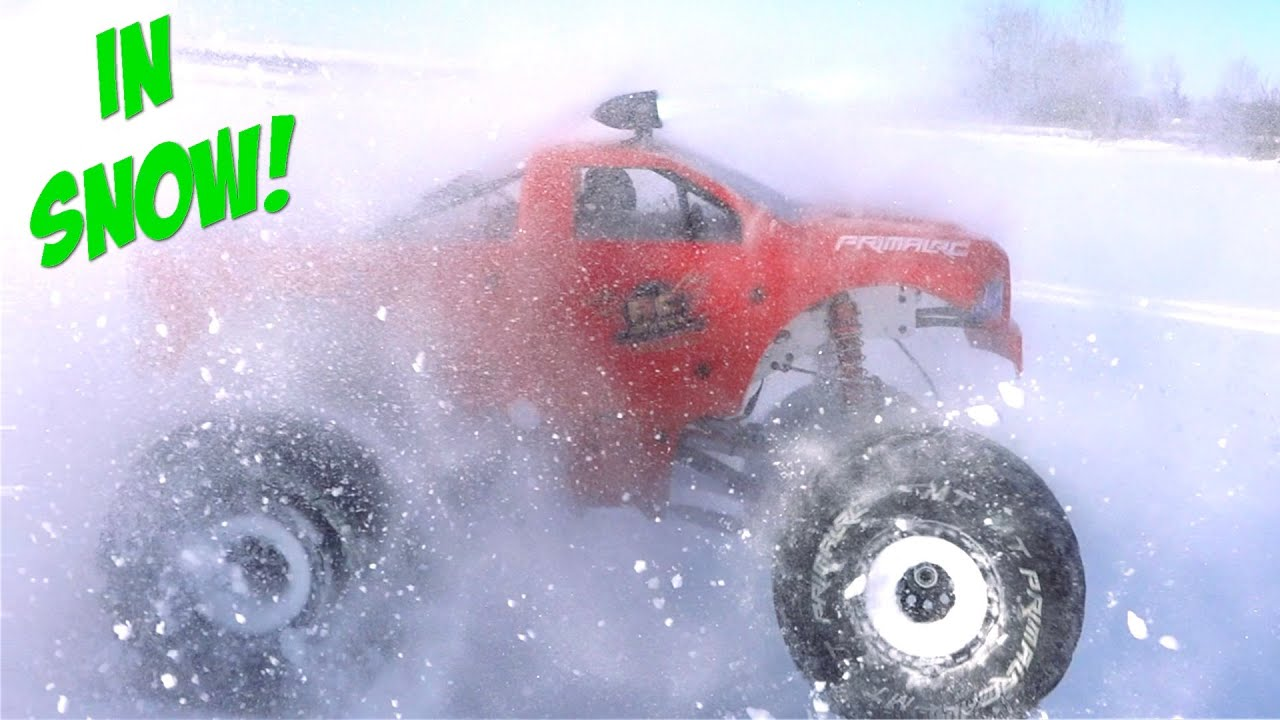 "NIGHT DRIVING in SNOW w/ a LED LIGHT BAR – 49cc PRIMAL RAMINATOR ""TOY"" MEGA TRUCK 