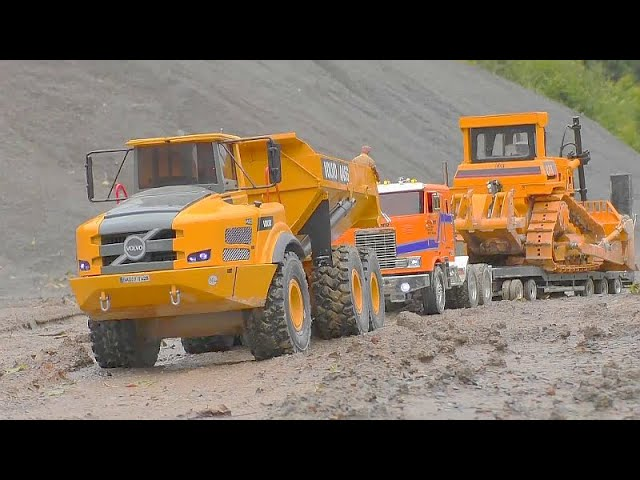 RC VOLVO DUMP TRUCK A45G! HEAVY D9 BULLDOZER! WORLD OF RC! MUDDI RC CONSTRUCTION SITE