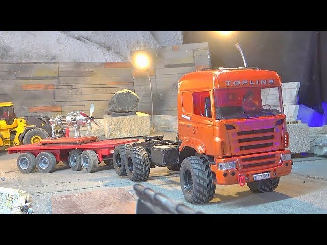 16 CYLINDER STIRLING MOTOR TRANSPOTRTATION! NEW RC SCANIA 560 AGRAR! AMAZING RC ACTION! STIRLING KIT