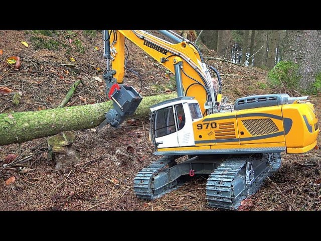 RC LIEBHERR EXCAVATOR R970 SME FALLS A TREE! MAZ 537 RC HAND WORK! MAN KAT1 EXTREME! BEST RC TOYS