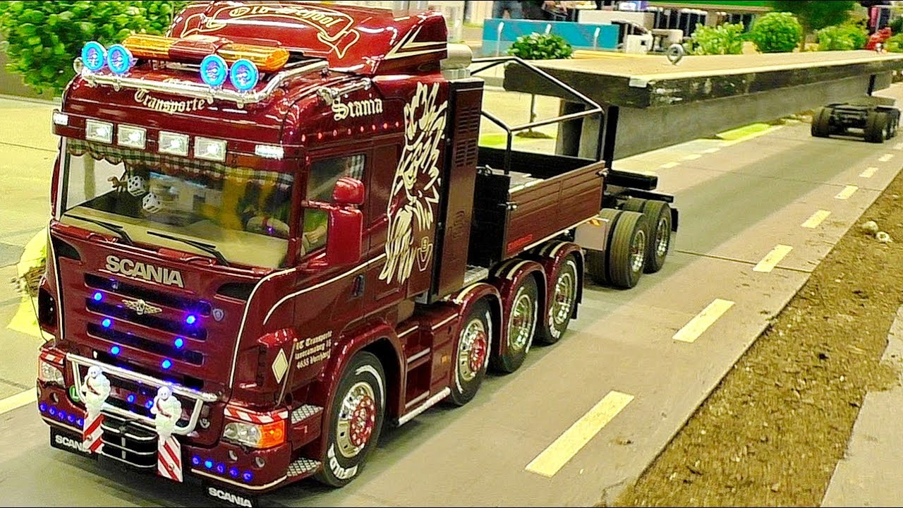AMAZING RC HEAVY TRANSPORT WITH SCALE 1:16 MODEL TRUCK IN MOTION