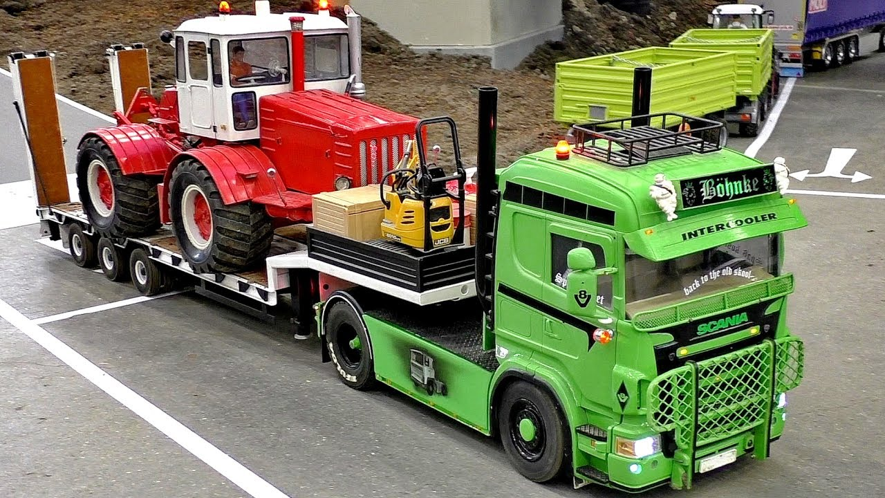 RC HEAVY TRANSPORT IN SCALE 1:16 AMAZING DETAIL MODEL TRUCK AT THE HARD WORK