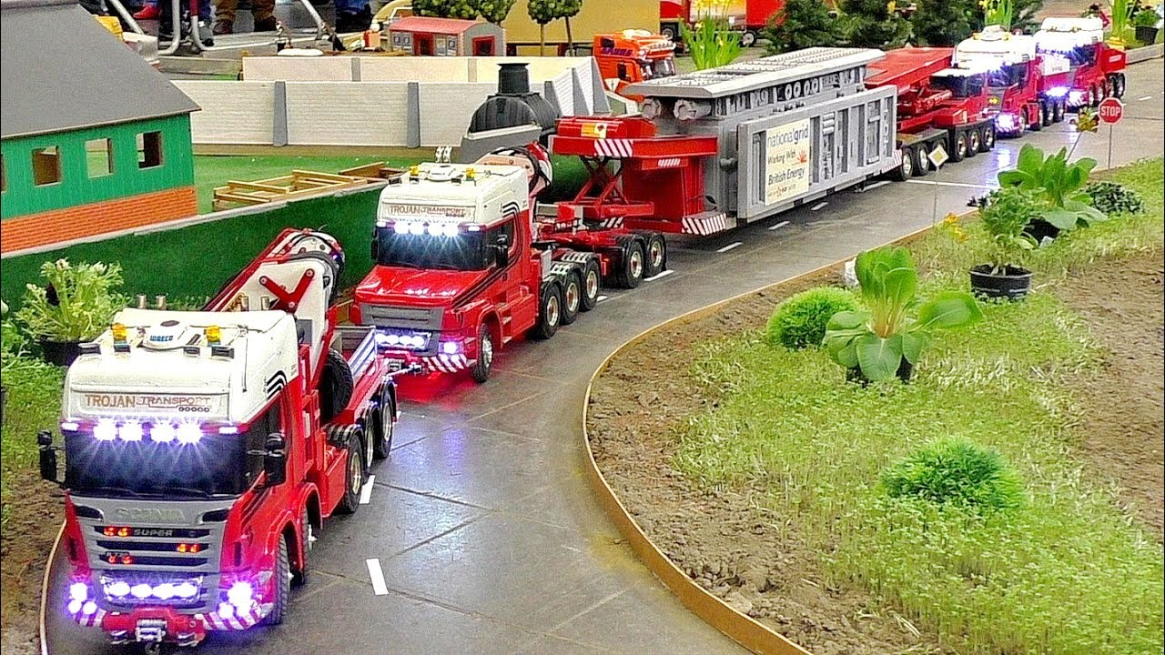 "LONGEST RC HEAVY LOAD TRANSPORT ""TROJAN TRANSPORT"" AMAZING SCALE 1:16 MODELS IN MOTION"