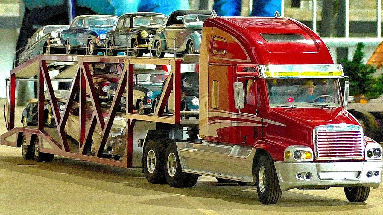 LARGE RC SCALE MODEL TRUCK COLLECTION AMAZING MODEL TRUCKS IN MOTION RIDE DEMONSTRATION