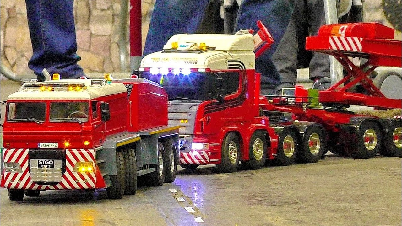 RC LONG VEHICLE MEGA MODEL HEAVY TRANSPORT WITH AMAZING RC TRUCKS IN MOTION