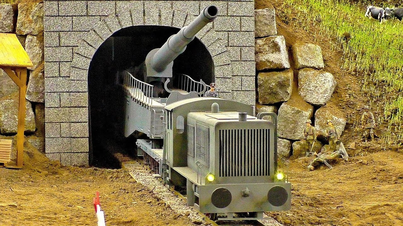 LARGEST RC TANK GERMAN RAILGUN GIGANTIC RC K5 LEOPOLD RAILWAY GUN MILITARY VEHICLE TRAIN GESCHÜTZ