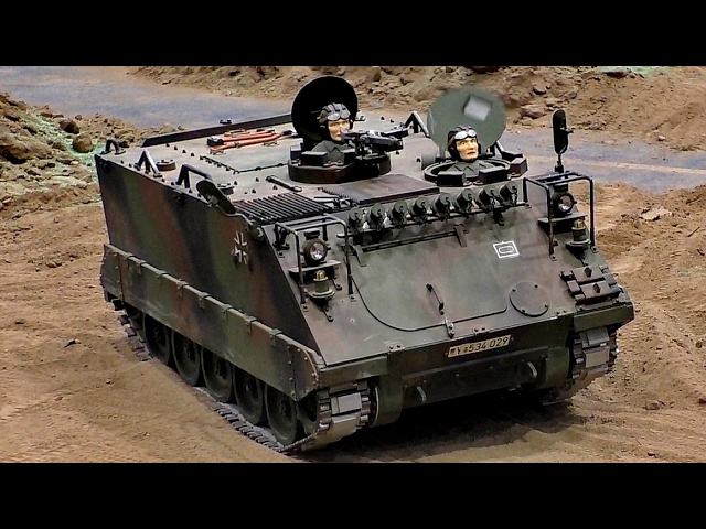 RC MTW M113 HEER TANK MILITARY VEHICLE IN ACTION / Modell-Hobby-Spiel Fair Leipzig Germany 2016
