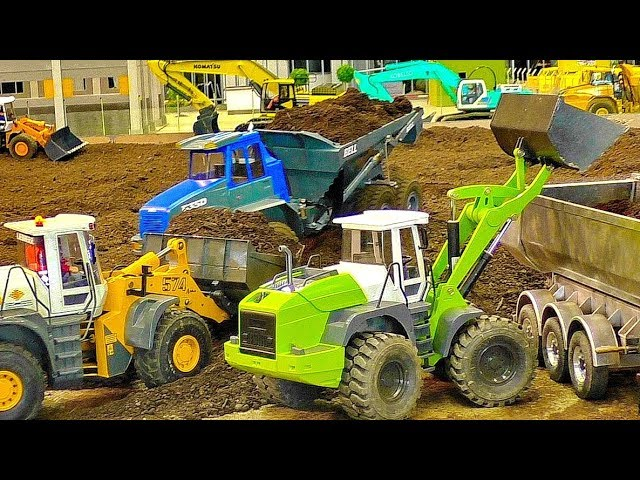 MEGA RC CONSTRUCTION SITE WITH FASCINATING SCALE 1/16 MODEL MACHINES IN MOTION
