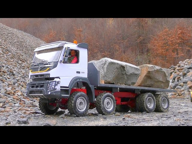 MUDDI RC CONSTRUCTION SITE! HEAVY STONE LOAD AT THE VOLVO FMX 500! STRONG RC VEHICLES