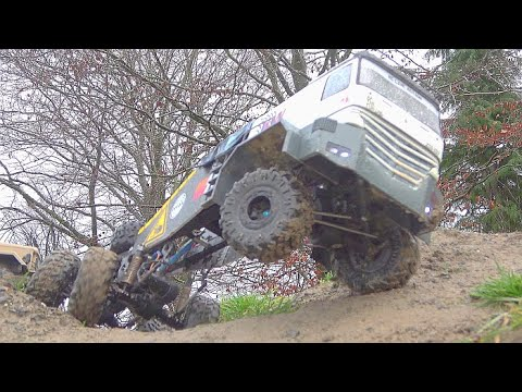 HEAVY RC CRAWLER MERCEDES BENZ 6X6 IN ACTION! UNIQUER HC 6 WITH SPECIAL TIRES! RC TRIAL 2020