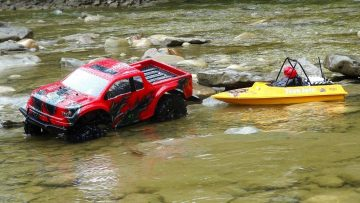 RC AVANTURE – Ford Raptor 4×4 & Modified NQD Jet Boat on the Trail – Radio Control 1/10th Scale
