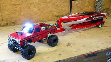 AVENTURES RC – Beast 4×4 with a Cormier Boat Trailer – Traxxas Spartan Speed Boat in Tow!