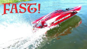 AVENTURES RC – TOP SPEED RUNS w/ 6S Lipo  Traxxas Spartan 36″ Race Boat Wipeout!