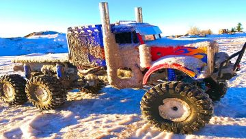 AVENTURAS RC – OPTiMUS OVERKiLL 6x6x6 SEMi TRUCK CHEWS the iCY SNOWFALL – 6S, 22 Volts of POWER!