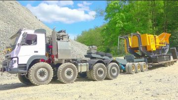 TUNG TRANSPORT AF RT! VOLVO FMX 8X8 EXTREMLY! HEAVY 80T STONE CRUSHER TRANSPORTR
