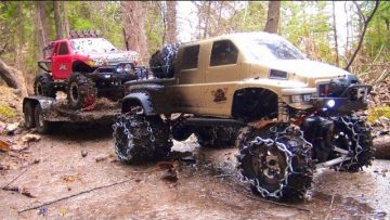 RC ПРИКЛЮЧЕНИЯ – OVERKiLL PUTS CHAiNS ON PiNKY ~ MUDDY SCALE 4×4 TRUCKS & TRAILER