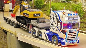 MODEL TRUCKS IN MOTION RC SCALE 1:14 AMAZING DETAIL MODELS ON A FANTASTIC PARCOUR