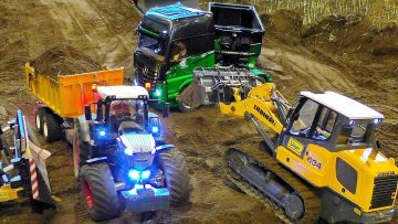 RC CONSTRUCTION SITE WITH MANY FASCINATING POWERFUL RC CONSTRUCTION MACHINES AT WORK
