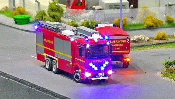 RC MICRO FIRE TRUCKS / MINIATURE FUNCTIONALITY MODELS IN SCALE 1:87 ON A FANTASTIC DIORAMA